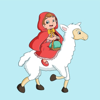 Criança de desenho animado montando uma ovelha