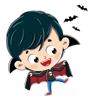 Criança disfarçada de vampiro com morcegos