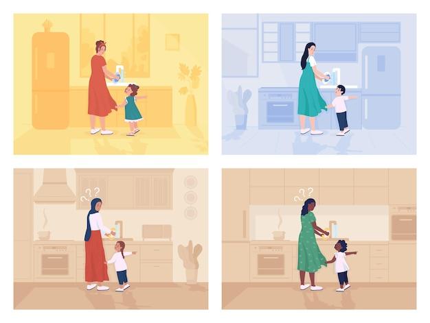 Criança distrai a mãe com um conjunto de ilustração vetorial de cor lisa