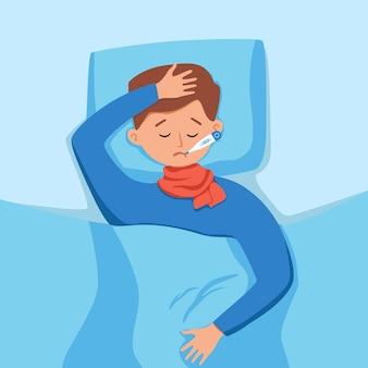 Criança doente com febre com termômetro na ilustração vetorial de boca. menino infeliz se sente mal com vírus ou doença do resfriado, tendo dor de cabeça, mede a temperatura corporal deitado na cama em casa.