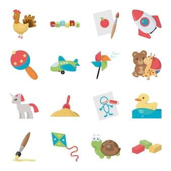 Criança dos desenhos animados isolados brinquedo definir ícone