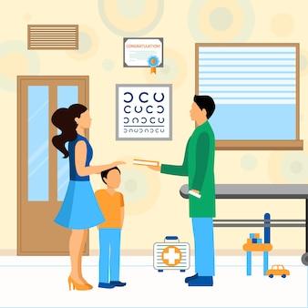Criança, doutor, pediatra, ilustração