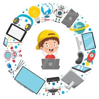 Criança e dispositivos de tecnologia