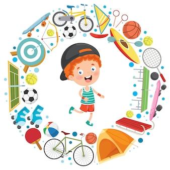 Criança e equipamentos de esporte