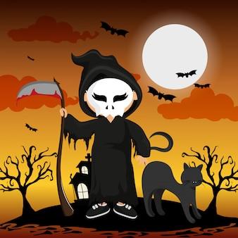 Criança e o dia das bruxas