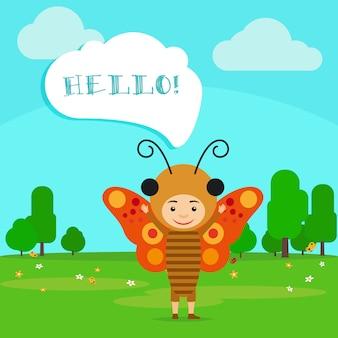 Criança, em, borboleta, inseto, vestido