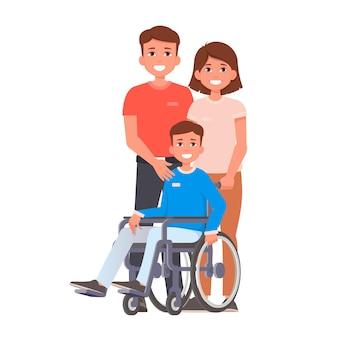Criança em cadeira de rodas com pais que ficam perto