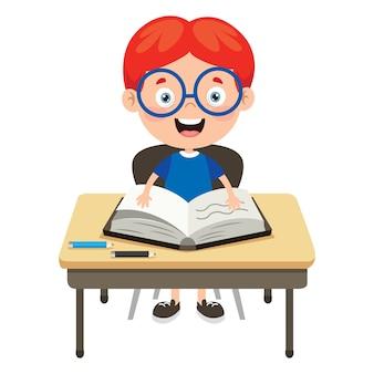 Criança em idade escolar feliz e bonito dos desenhos animados