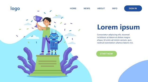 Criança em idade escolar vencendo competição de robótica