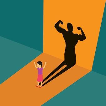Criança em pé com sombra de corpo forte