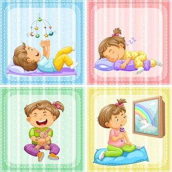 Criança em quatro ações diferentes