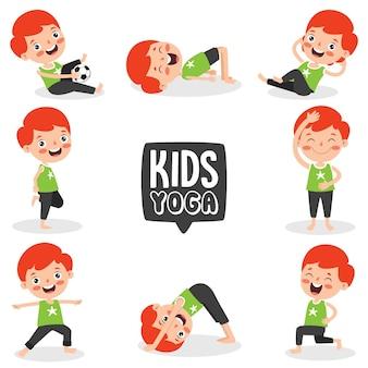 Criança engraçada em pose de ioga