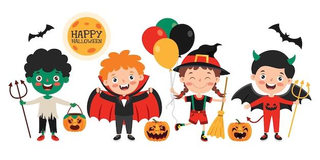 Criança engraçada feliz comemorando o halloween