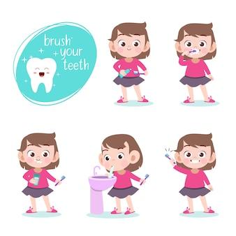 Criança, escovar, dentes, vetorial, ilustração, isolado