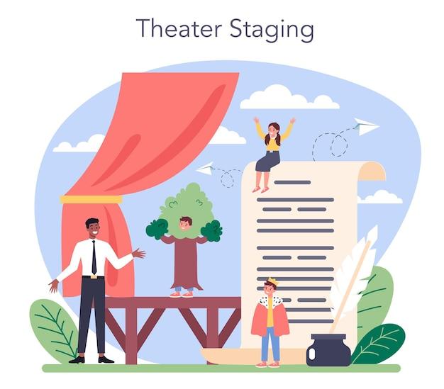 Criança estudando atuação no palco