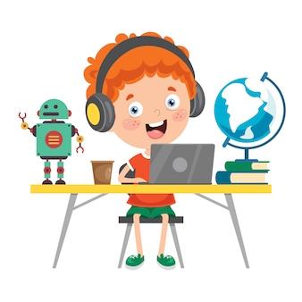 Criança estudando na sala de aula