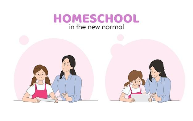 Criança estudar online com os pais