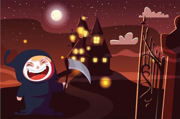 Criança fantasiada de halloween
