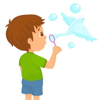 Criança faz paz pomba em forma de bolhas de sabão