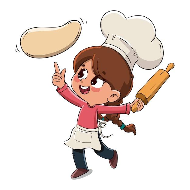 Criança faz uma pizza ou cozinha