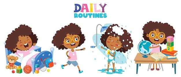 Criança fazendo atividades de rotina diária
