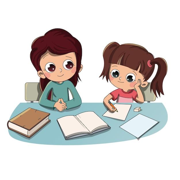 Criança, fazendo, dever casa, com, mãe, ou, irmã