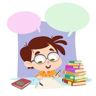 Criança fazendo lição de casa feliz