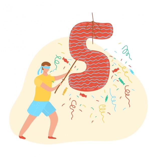 Criança feliz aniversário, decoração de balão número cinco, festa de comemoração e jogo para desenhos animados de crianças isolado na ilustração branca