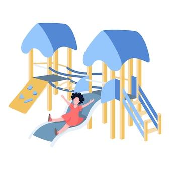 Criança feliz brincando no slide