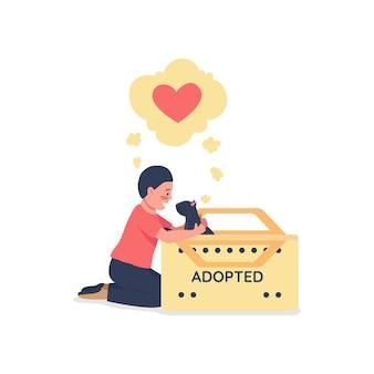 Criança feliz caucasiana com personagem plana detalhada de gato preto adotado. resgatar animal sem-teto. desenhos animados isolados de cuidados com animais de estimação