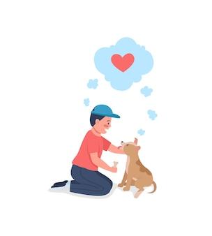 Criança feliz caucasiana treinando cachorro cor lisa personagem detalhada