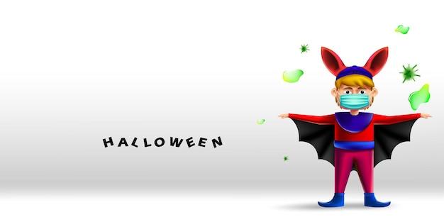 Criança feliz do dia das bruxas com fantasia de morcego usando máscara protetora contra coronavírus ou covid-19