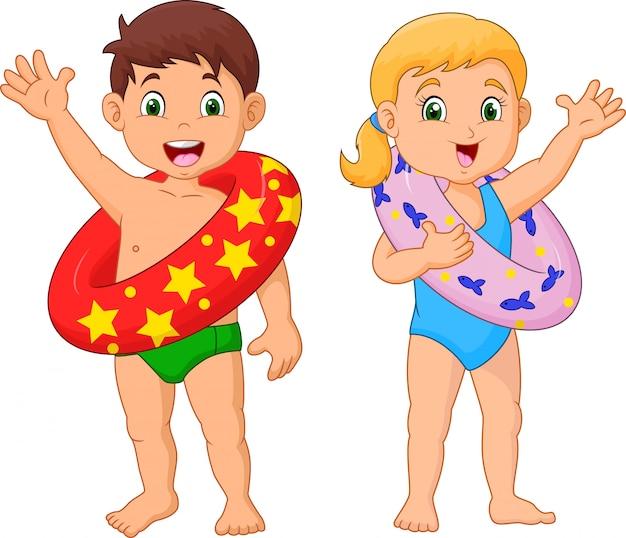 Criança feliz dos desenhos animados com anel inflável