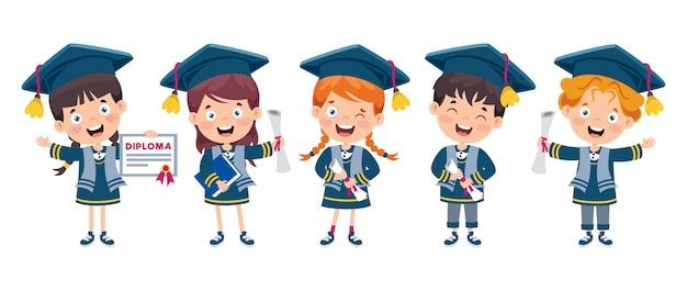 Criança feliz dos desenhos animados em traje de formatura