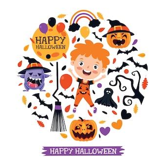 Criança feliz e engraçada comemorando o halloween