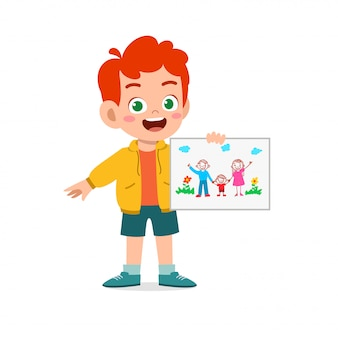 Criança feliz e fofa, menino e menina, desenhando com giz de cera no papel
