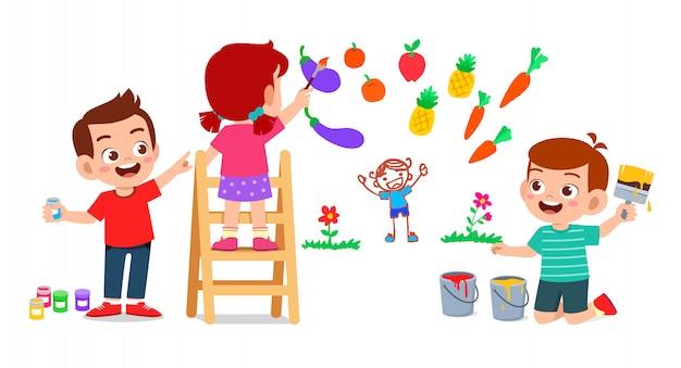 Criança feliz e fofa, menino e menina, desenhando com tinta na parede juntos