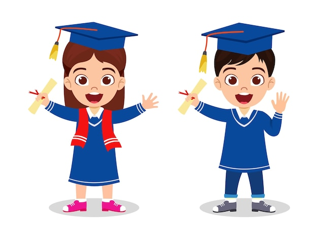 Criança feliz e fofa pós-graduação menino e menina em pé com certificado e acenando isolado no fundo branco