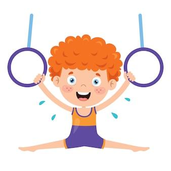 Criança feliz fazendo exercício de ginástica