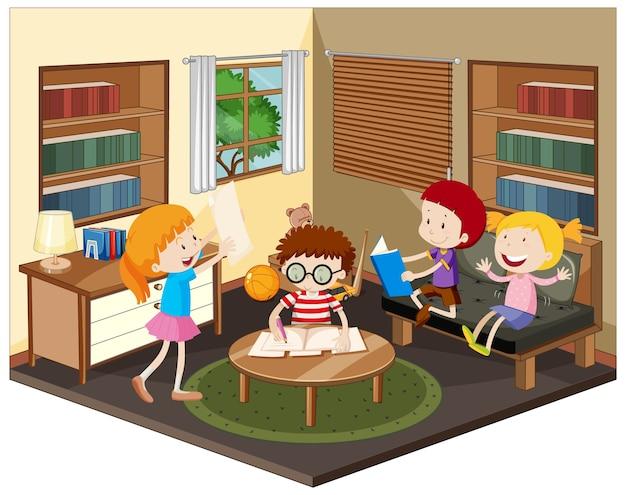 Criança feliz fazendo lição de casa na sala de estar