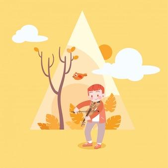 Criança feliz fofa na ilustração vetorial de temporada de outono