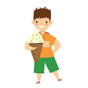 Criança feliz isolada no estilo plano sobre fundo branco