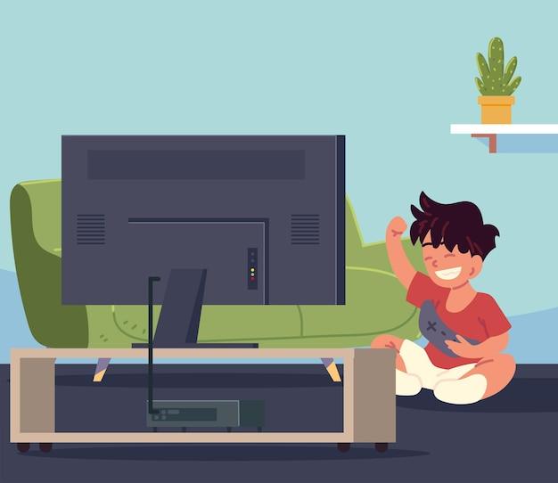 Criança feliz jogando videogame