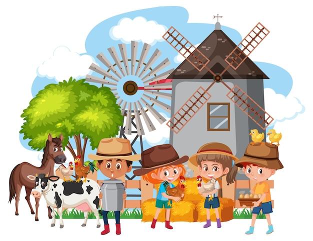 Criança feliz na cena da fazenda com fazenda de animais
