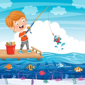 Criança feliz, pesca no cais