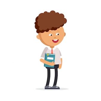 Criança feliz pronta voltar para a escola.