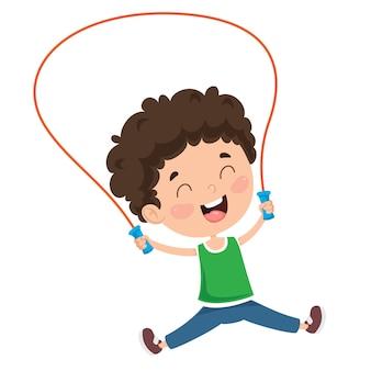 Criança feliz pulando corda