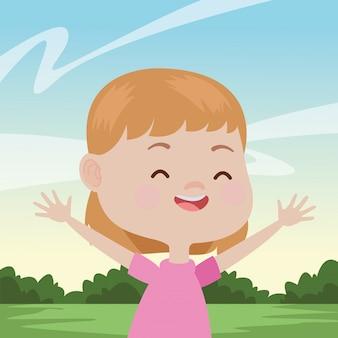 Criança feliz se divertindo desenhos animados
