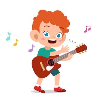 Criança feliz tocar vetor de música de guitarra