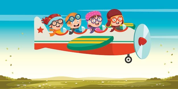 Criança feliz, voando no avião